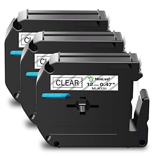 """NineLeaf 3 Pack Compatible for Brother P-Touch M Label Tape MK131 M-K131 M131 Black on Clear 1/2"""" (12mm) x 26.2ft (8m) Labeling Refill Cartridge Work in PT-45M PT-65 PT-70 PT-80 PT-M95 Label Maker"""