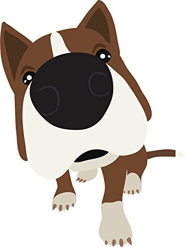 Adorable Red Nose Brown Pitbull Puppy Dog Cartoon Vinyl Decal Sticker (4' Tall)