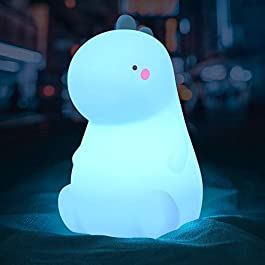 Dinosaur Night Light for Kids, Cute Color Changing Silicone Baby Night Light with Touch Sensor, Portable & Rechargeable LED Beside Nursery Lamp for Toddler's Room, Dinosaur Gifts for Boys Girls