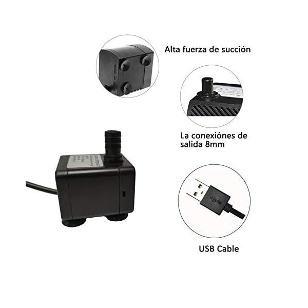Homvik USB Mini Bomba de Agua Sumergible 200L/H 1.5W Bomba Agua para Fuente de Agua Mascotas Acuario Estanque y Pecera…