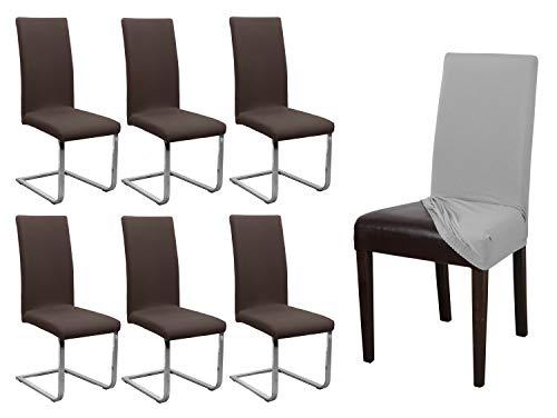 BEAUTEX 6er Set Jersey Stuhlhusse, elastische Stretch Husse Baumwolle Bi-Elastic, Farbe wählbar (Dunkelbraun)