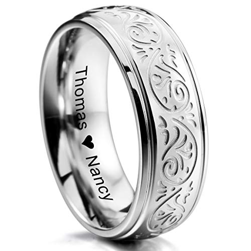 of inblue jewelry designers INBLUE Personalized Florentine Design Promise Rings Engraving Name Date Custom Rings for Women Girls Mothers Day Stainless Steel Wedding Band Ring Jewelry Valentines Gift for Her