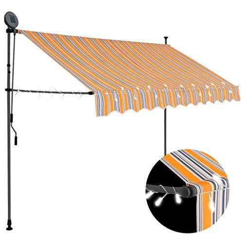 vidaXL Markise Einziehbar Handbetrieben mit LED Wasserabweisend Klemmmarkise Balkonmarkise Sonnenschutz Terrasse Balkon Garten 300cm Gelb Blau