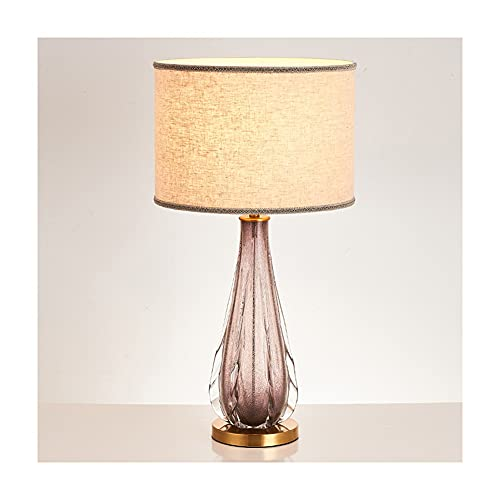 zxb-shop Crystal Table Lamp Modern Minimalist Table Lamp Gradient Color Glass Bedroom Bedside Lamp Creative Study Living Room Fabric Lampshade Lighting Lamp Crystal Lamp Decorative (Color : B)