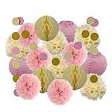 DUBILE Linterna De Redonda, Farolillos Feria Papel Linterna de Papel Redondo de Oro Cumpleaños Pink Honeycomb Ball Decoración de la Boda Pompones (Color : Silver Dark Green, Size : 8inch(20cm))