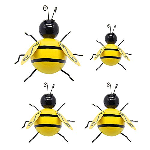 4Pack Metal Bee Wall Decor, Bumble Bee Garden Sculpture 3D Hanging Bee Accents for Outdoor Yard Lawn, Iron Bumblebee Art Decoration(Bee)