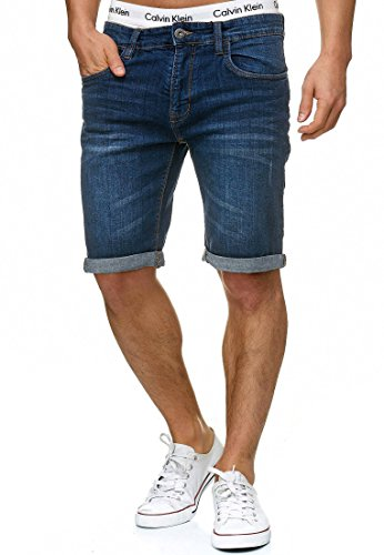 Indicode Homme Caden Short en Jean avec 5 Poches 98 % Coton | Court Denim Stretch Pantalon Used Look Washed Destroyed Regular Fit Men Pants De Loisirs pour Homme Blue L