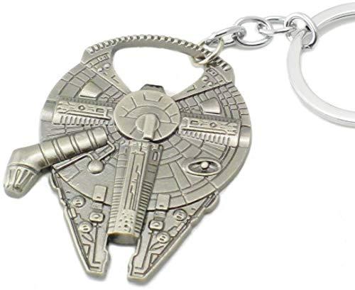 WOO LANDO Han Solo`s Millenium Falke - flesopener in roomschip optiek met sleutelhanger, roestvrijstalen look 60x45 mm, grappig cadeau voor Star Wars-fans
