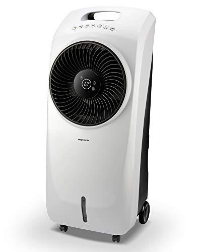 Thomson WT250 - Radiatore ad aria con raffreddamento ad acqua, 3 in 1 (Air Cooler, umidificatore e ventilatore), 3 livelli e 2 confezioni di ghiaccio, con telecomando, colore: Bianco/Nero