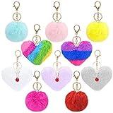 NOBRAND - 10 llaveros esponjosos con pompones, coloridos llaveros con forma de bola de corazón, pompones de piel de conejo de imitación, hebilla para colgar en el bolso