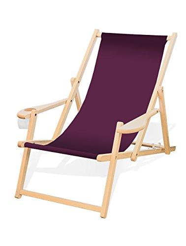 Holz-Liegestuhl mit Armlehne und Getränkehalter, Klappbar, Wechselbezug (Aubergine)