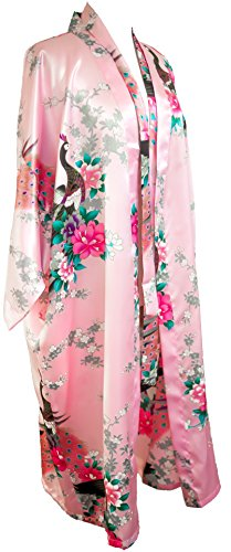 CCcollections Kimono Robe Long 16 Colors Prämie Peacock Bridesmaid Bridal Shower Womens Gift (Hell-Pink (Light Pink))