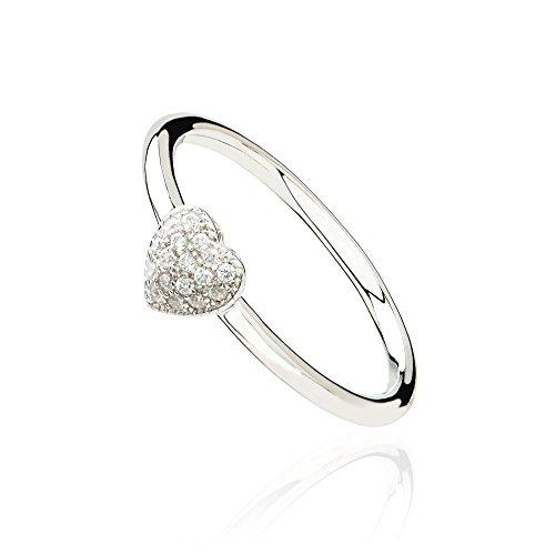 Eye Candy Damen-Ring Herz 925 Sterling Silber rhodiniert mit 17 weißen Zirkonia Steinen Gr.54 ECJ-RG0074