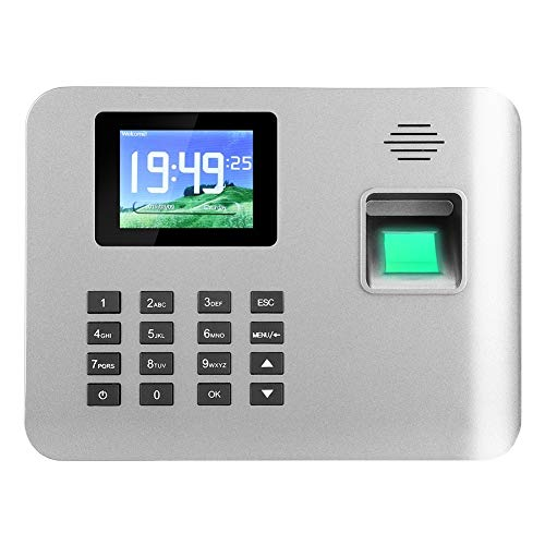 YEZIN Relojes de Tiempo para empleados pequeños Negocios 2,8 Pulgadas de Pantalla Inteligente de inducción de Huellas Dactilares Reloj Reloj de perforación de Oficina