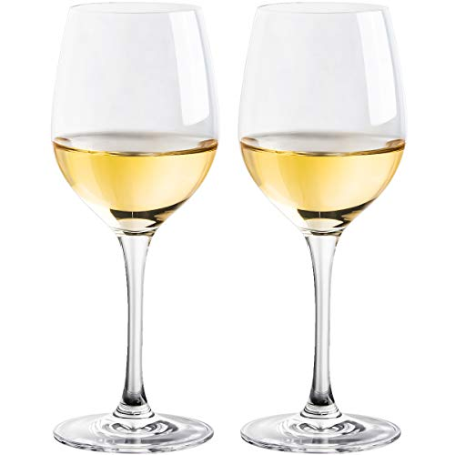 FAWLES White Wine Glasses, Set of 2, Non-leaded Crystal Glass, 10 Ounce Capacity Clear Standard Wine Glass, Dishwasher Safe
