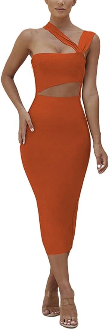 Simasoo Womens Sexy Bodycon Asymmetric Strap Irregular Cut Out Front Backless Long Midi Dress Club Wear