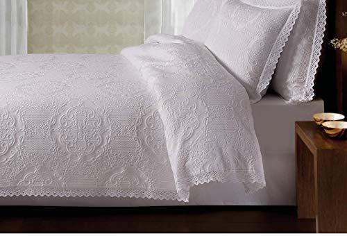 copriletto matrimoniale primaverile estivo coperta copriletto bianco elegante leggero in cotone lavorato ricamato uncinetto con bordo in pizzo