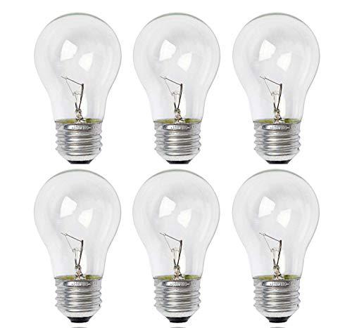 Sterl Lighting - 40 Watt A15 Ceiling Fan Light Bulbs, E26 Medium Standard Household Base, Incandescent Appliance for Oven, Refrigerator & Stove 3.34In 120V 360Lm 2700K Warm White Crystal Clear - 6 Pack
