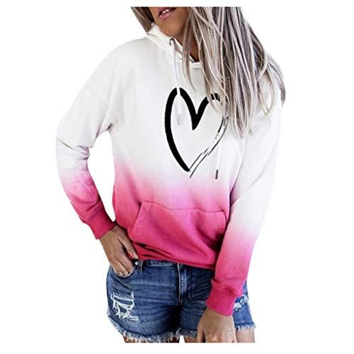 HGWXX7 Womens Hoodie Drawstring Heart Loose Pullover Gradient Printed Long Sleeve Plus Size Sweatshirt Tops with Pocket Pink
