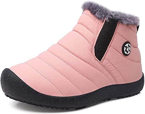 Zapatos Invierno Niña Niño Botas de Nieve Forradas Zapatillas Sneaker Botines Planas para Unisex Niños Rosa 31.5 EU = 32 CN