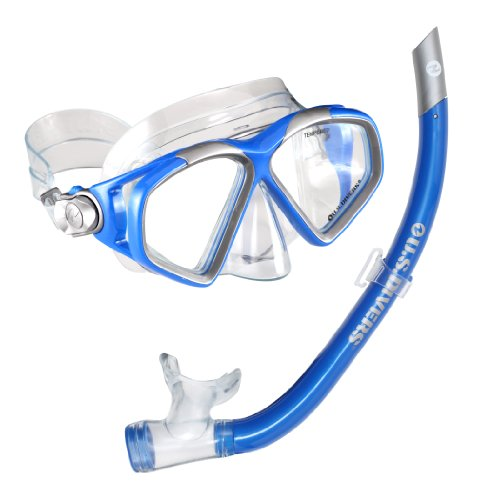 US Divers Cozumel LX/Airent - Set di Maschera e boccaglio, Blu Elettrico
