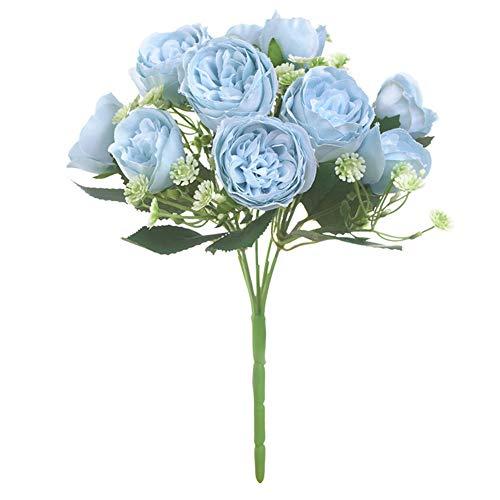 Artificial Peony falsaflores Home jardín Boda Fiesta Flor decoración de Escritorio Photo Props 1Pieces- Lago Azul