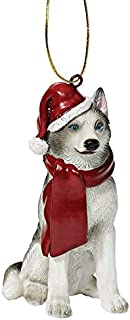 Design Toscano Siberian Husky Holiday Dog Christmas Tree Ornament Xmas Decorations, 3 Inch, Full Color