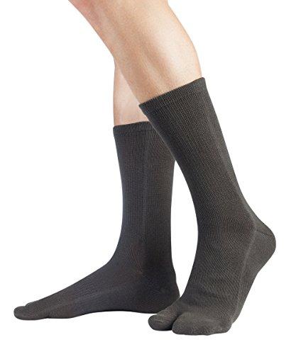 Knitido Traditionals Tabi, klassische wadenlange Zwei-Zehen-Socken aus Japan, Größe:39-42, Farbe:Grau (010)