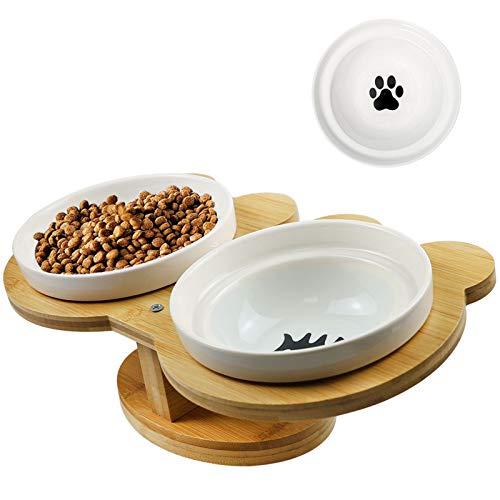 O'woda Katze Napf-Set, Futterstation, Anti-Rutsch Katzennäpfe Keramik Set mit Bambus Ständer (30 x 16 x 9cm), Schüssel 14 cm, Futternäpfe für Katzen und Hunde (Fisch)