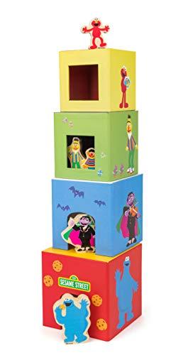 Small Foot- Rue Sesame Tour à empiler, 100% certifié FSC, pour Les Enfants à partir de 1 an, Quatre Cubes Jouets, 10982, Multicolore