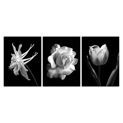 Suuyar Nordic Zwart Wit Abstracte Bloem In Blossom Poster Canvaskunst Muur Foto Rose Tulp Schilderij Scandinavisch-50x70cmx3pcs geen frame