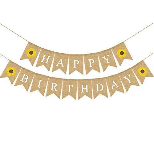 decoración de Girasol Bunting Garland Decoración Yute arpillera Feliz cumpleaños Banner con Fiesta de cumpleaños de Girasol