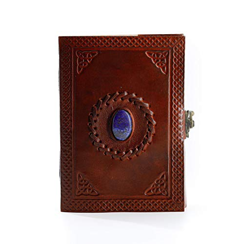 Leather Journal Handmade leather Diary Stone journal Blank pages notebook scrapbook sketchbook notepad book of shadows hocus pocus book spell book gifts for men and women (7 x 5, Brown)