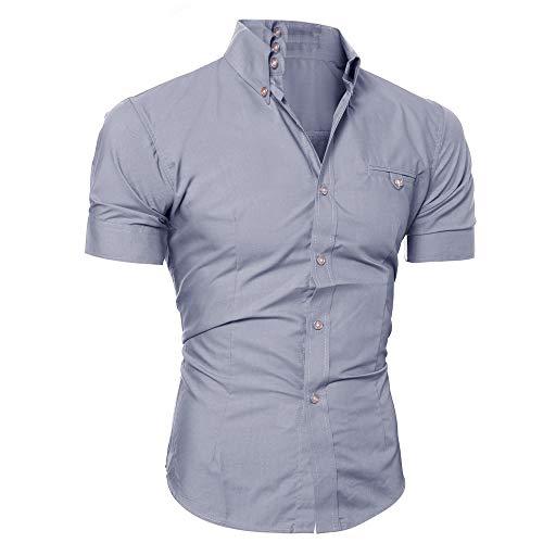 Yowablo Bluse Herren Kurzarm Hemden Prom Hochzeit Button Down O Neck Pullover T-Shirt Top (XXL,Grau)