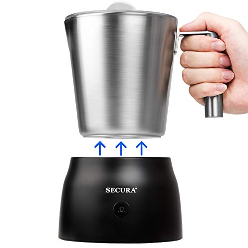Secura 4 in 1 Electric Automatic Milk Frother and Hot Chocolate Maker Machine 17oz/500ml foam Stainless Steel Dishwasher Safe Cordless Removable Milk...