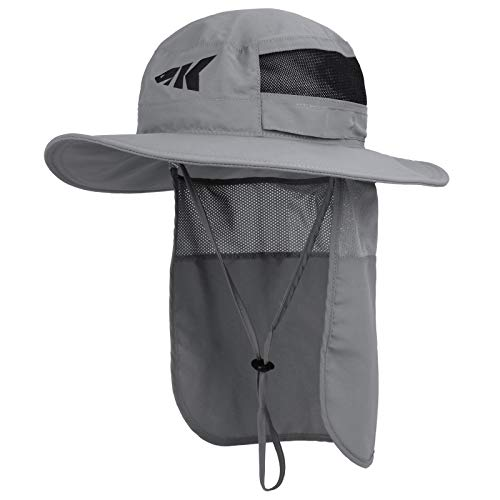 KastKing Sol Armis UPF 50 Boonie Sun Hat with Removable Neck Shield– Sun Protection Hat, Fishing Hat, Beach & Hiking Hat, Paddling, Rowing, & Kayaking - Gray