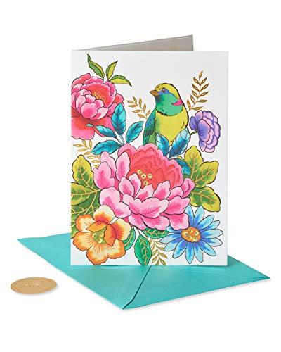 Papyrus Cartão de aniversário para ela (pássaro e flores), multicolorido, 1 (6811723)