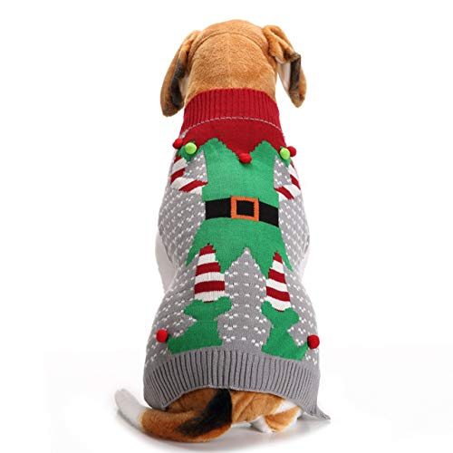 Mogokoyo Cute Dog Cat Ugly Christmas Sweater,Pet Fleece Xmas Jumper Warm Clothes for Winter Cold Weather(M Size)