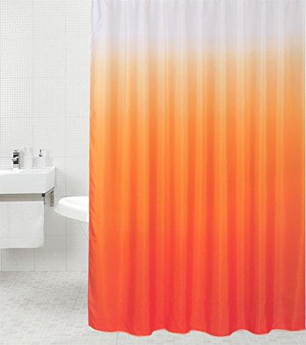 Sanilo Duschvorhang Magic Orange 180 x 180 cm, hochwertige Qualität, 100prozent Polyester, wasserdicht, Anti-Schimmel-Effekt, inkl. 12 Duschvorhangringe