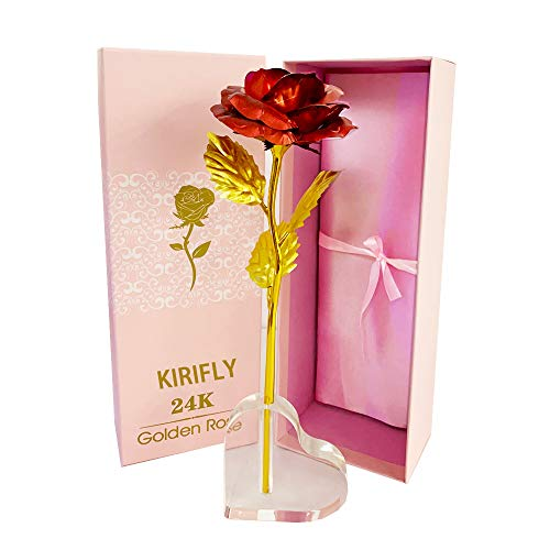 KIRIFLY Gold Rose Geschenk für Frauen Blumen Künstlich Deko Unechte Blumen Plastik für Hochzeit Freundin Muttertag Dankeschön Schwester (Rote Rose)