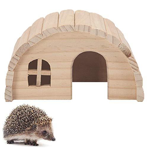 Hedgehog House for Garden Waterproof Wooden Design Hedgehog Feeding Station Small Animal House Hedgehog Box Outdoor Cat House Summer Winter
