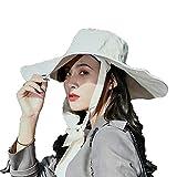 Sombrero para el Sol Sombrero de ala Ancha Prueba de Viento Gorro de Cubo de Algodón Protección UV para Mujer Verano al Aire Libre (Color : Gray)