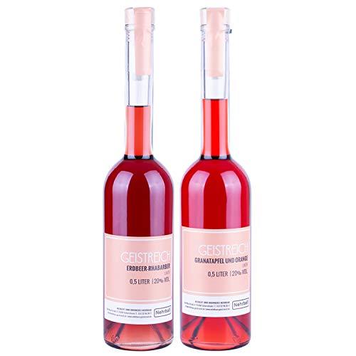 Nehrbaß - 2er Set aus Erdbeer-Rhabarber-Likör und Granatapfel-Orangen-Likör 0.5 Liter - Premium Fruchtlikör 20% Vol. - Obstlikör Liköre aus Deutschland (33,60 Euro/Liter)