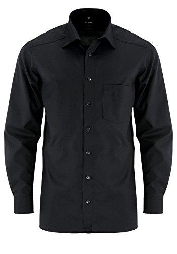 Olymp Herren Langarmhemd - Luxor Modern Fit, Gr.44, Farbe 99 schwarz