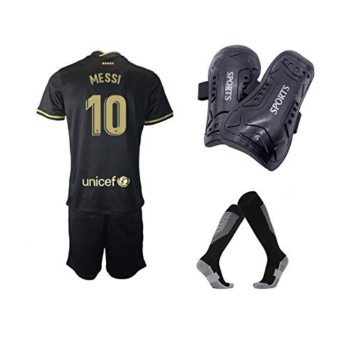 A-Fantasy 2020/21#10 Youth Soccer Jerseys with Kids Soccer Shin Guards Socks for Boys/Girls Black