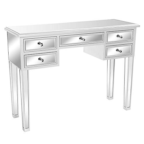 Bonnlo Mirrored Desk Media Console Vanity Table with 5 Drawers, Silver