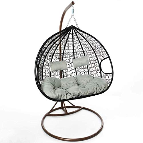 Raxter Hanging Chair, Hanging Egg Chair with Cushions, Swing Chair with Waterproof Cover, For Indoor Outdoor Garden Patio, Freestanding Double Seat, Black Colour