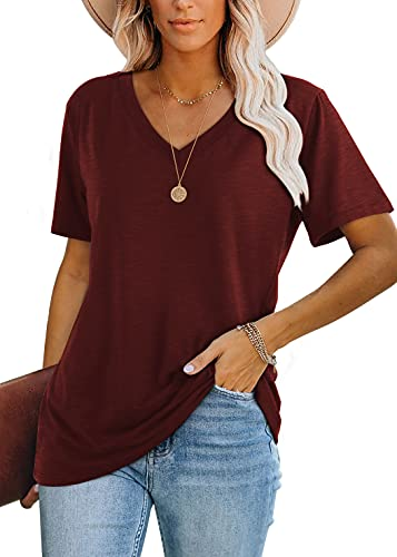 Womens Short Sleeve Tops Solid Color Casual Basic Tee Shirts Red L