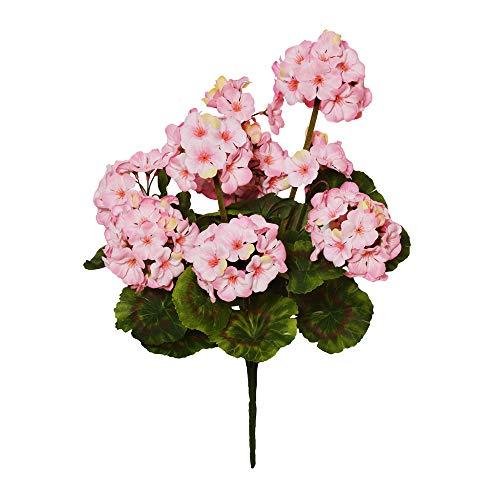 FloristryWarehouse, mazzo di geranio in finta seta, 47 cm x 9 teste rosa