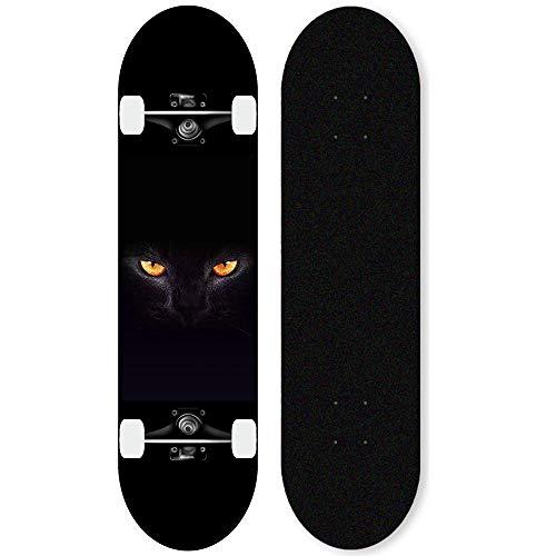 KHSKX Komplette Skateboard Anfänger Skateboard Boy Maple Deck Professional Skateboarder Professional-Katze in der Nacht